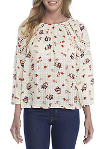 Long Sleeve Printed Woven Top