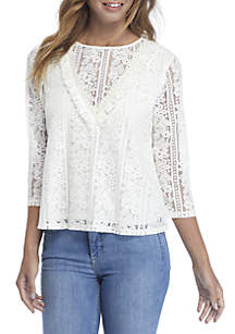 3/4 Sleeve Lace Woven Top