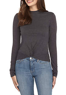Twist-Front Rib Knit Crew Top