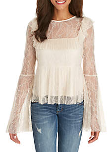 Pleated Lace Long Sleeve Woven Top