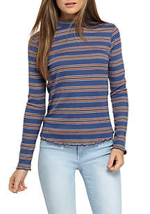 Long Sleeve Rib Mock Neck Knit Top