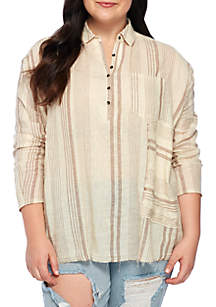 Plus Size Woven Popover Top