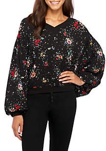 V-Neck Chiffon Sweatshirt
