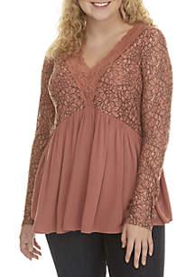 Plus Size Lace V-Neck Tunic