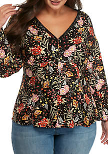 Plus Size Printed Satin Button-Front Top
