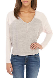 Ribbed Sleeve V-Neck Top