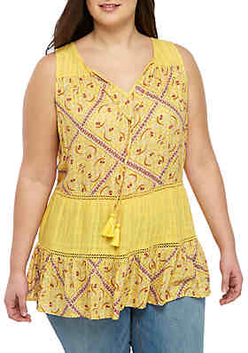 e90806a3c02 Wonderly Plus Size Sleeveless Tiered Top ...