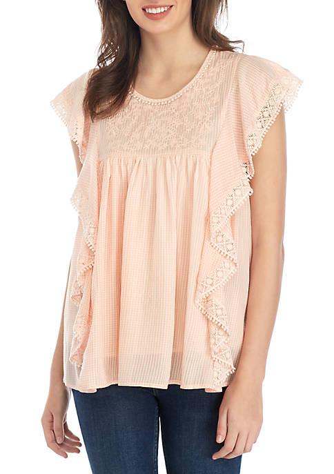Crochet Lace Woven Top