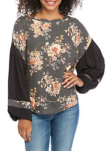 Wonderly Floral Printed Waffle Knit Top