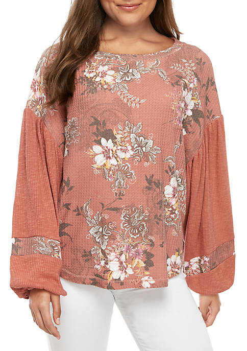 Floral Printed Waffle Knit Top