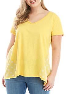 Wonderly Plus Size Knit To Woven T Shirt