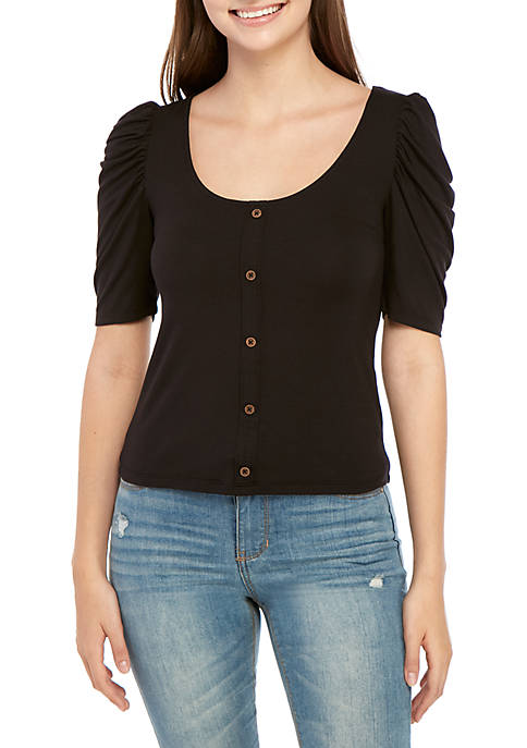 Button Front Puff Sleeve Top