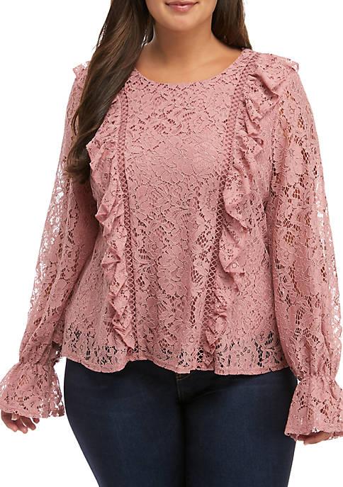 Plus Size Lace Peplum Top