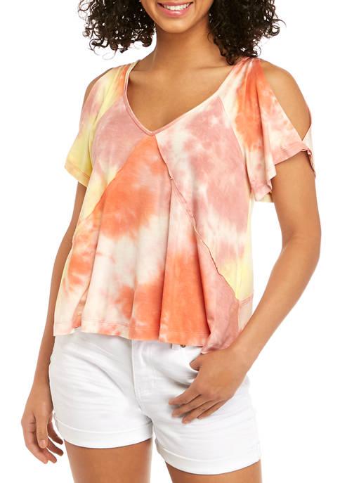 Juniors Cross Seam Tie Dye Top
