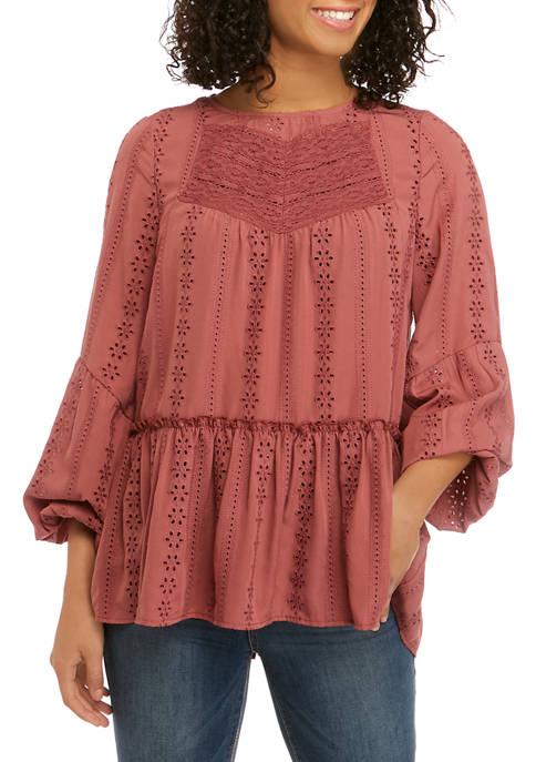 Juniors Long Sleeve Crochet Top