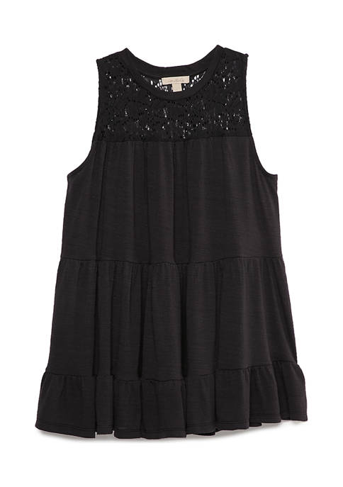 Sleeveless Lace Neck Tiered Knit Top
