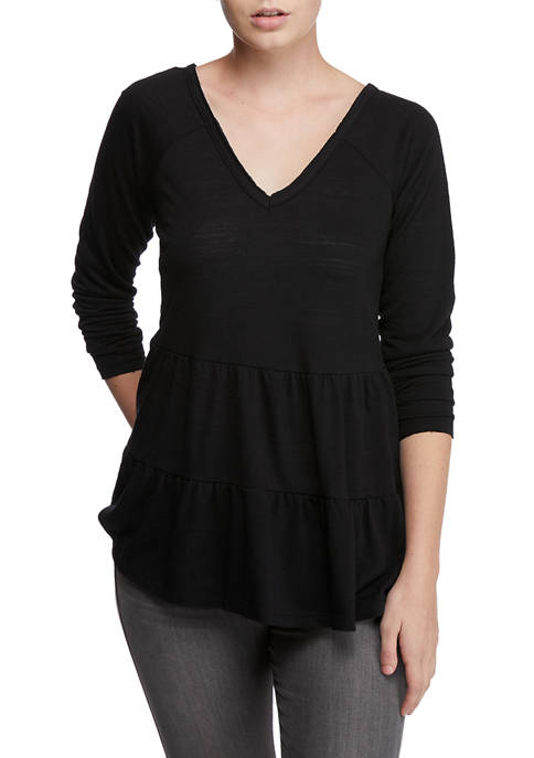 Juniors Long Sleeve V-Neck Tiered Top
