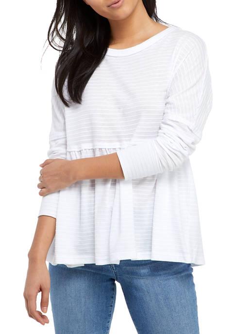 Juniors Long Sleeve Textured Peplum Hem Top