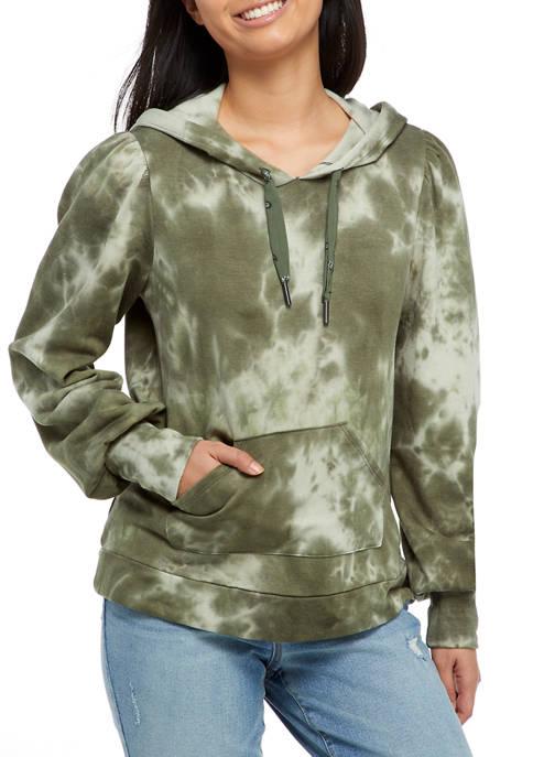 Juniors Puff Sleeve Popover Fleece Sweatshirt