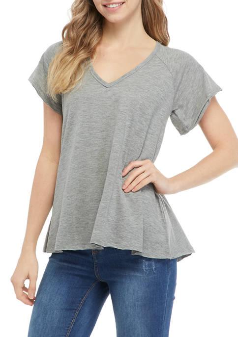 Juniors Short Sleeve V-Neck Oversized T-Shirt