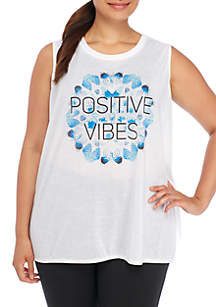 Plus Size Positive Vibes Graphic Tank