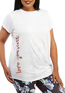 ZELOS Plus Size Knot Front Graphic Tee