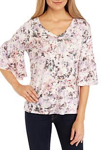 cupio blush Short Sleeve Ruffle Print Endless Knit Top