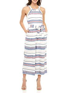 cupio blush Stripe Halter Jumpsuit