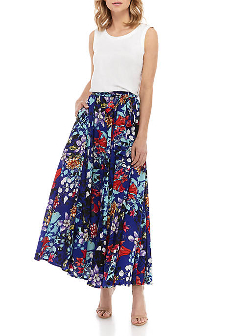 Sleeveless Top And Printed Combo Dress