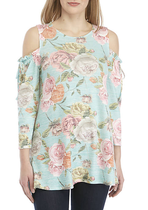 Cupio Cold Shoulder Print Knit Top
