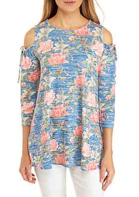 9bf90655228824 Cupio Cold Shoulder Print Knit Top ...