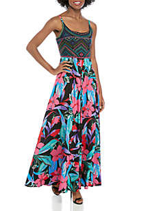 Cupio Embroidered Top Printed Skirt Dress