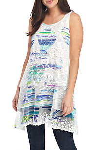 Cupio Crochet Printed Tiered Tank