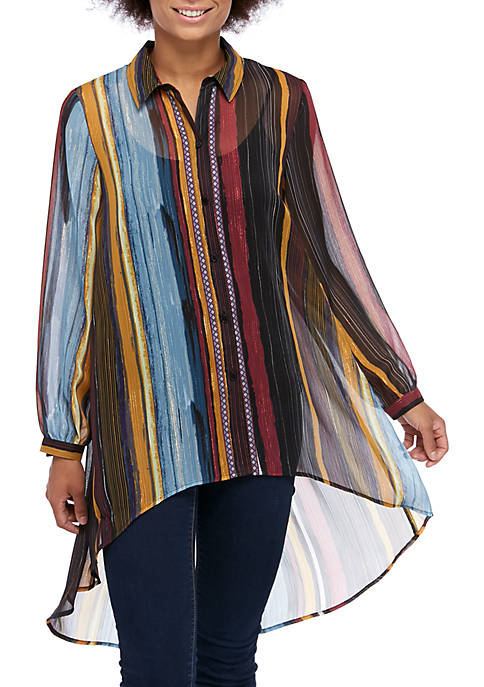 Cupio Long Sleeve Metallic Stripe Tunic