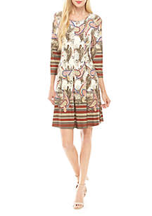 cupio blush Printed Fit and Flare Dress