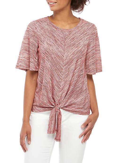 cupio blush Short Sleeve Tie Front Knit Top