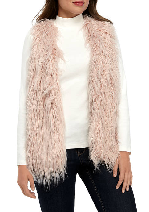 cupio blush Womens September Shag Fur Vest