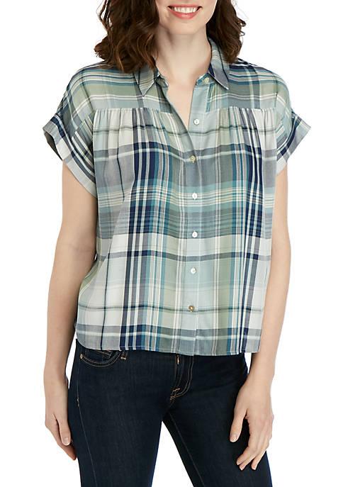 cupio blush Short Sleeve Plaid Pleat Front Top