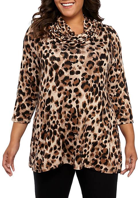 cupio blush Plus Size Cowl Neck Side Button