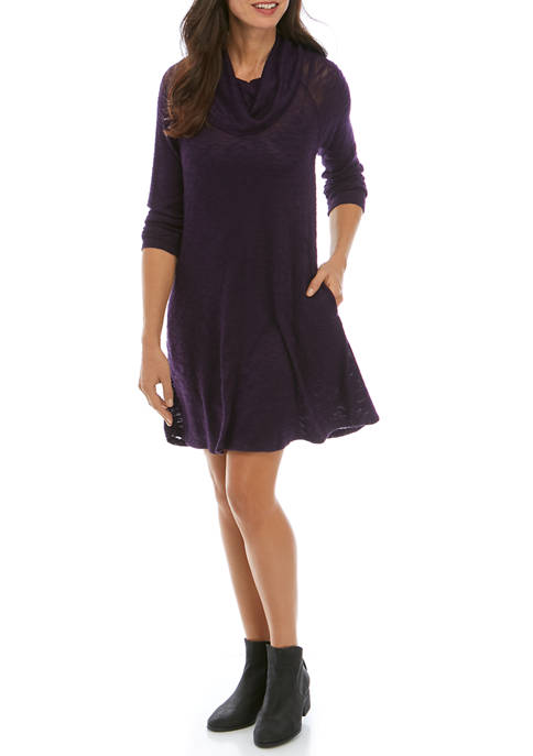 Womens Cowl Neck Solid Dress