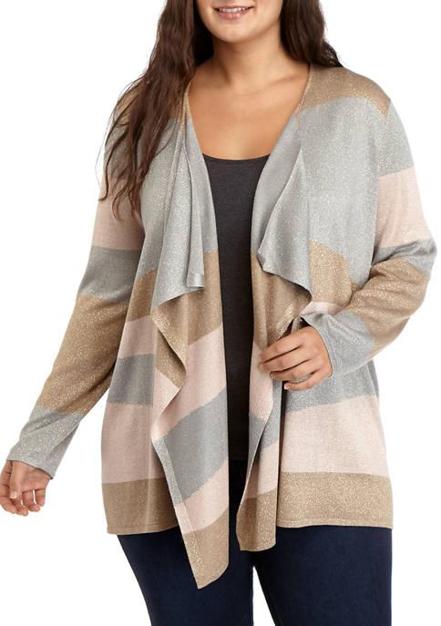 Plus Size Striped Cardigan with LUREX®
