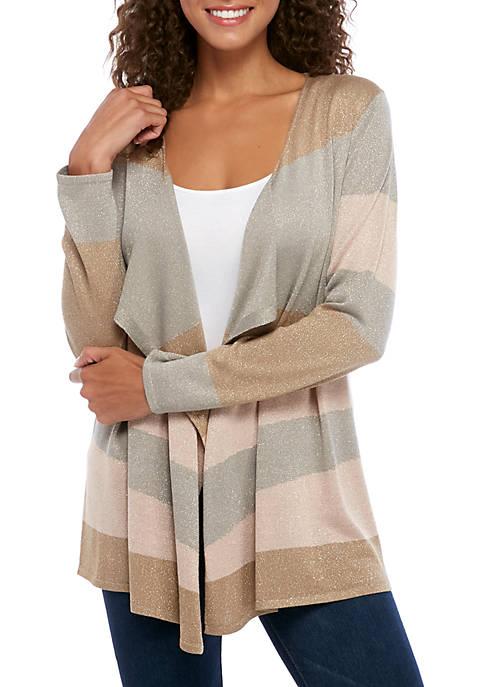 Cupio Womens Multi Stripe Lurex Cardigan
