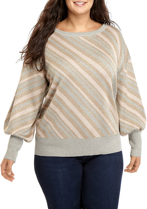 Cupio Plus Size Stripe Dolman Pullover with LUREX®