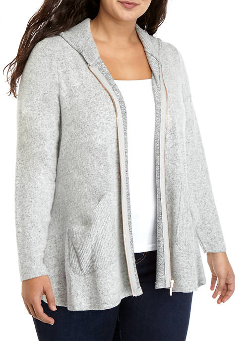 Cupio Plus Size Hooded Zip Jacket