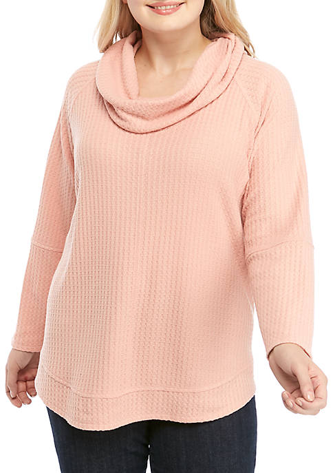 Cupio Plus Size Dream Soft Cowl Neck Sweater
