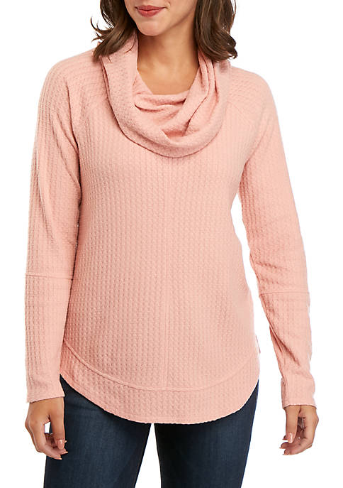 cupio blush Dream Soft Waffle Knit Cowl Neck