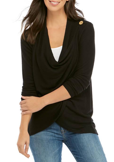 cupio blush Button Shoulder Soft Cardigan