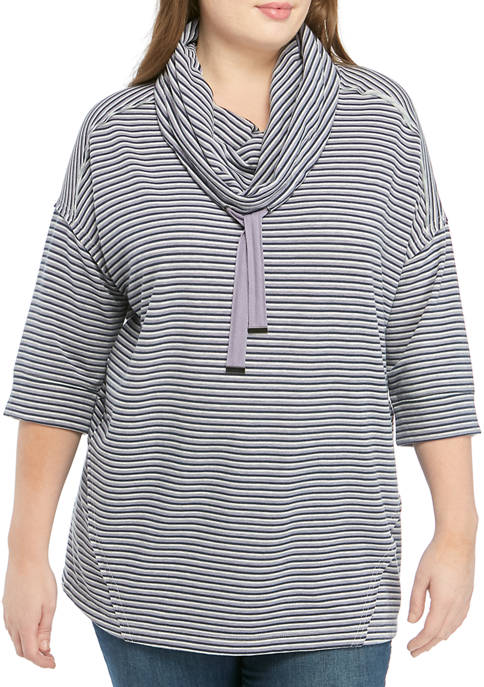 Cupio Plus Size Cowl Neck Stripe Sweatshirt