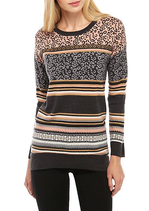 cupio blush Round Neck Leopard Sweater