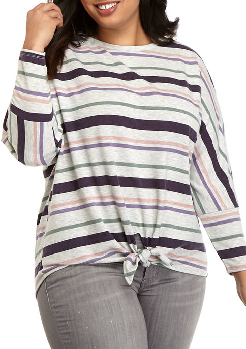 cupio blush Plus Size Multi Stripe Tie Front